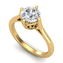 1.25 CTW VS/SI Diamond Solitaire Art Deco Ring 18K Yellow Gold - REF-490A9V - 37228