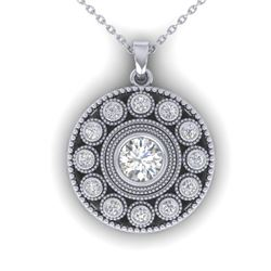 0.91 CTW Certified VS/SI Diamond Art Deco Necklace 14K White Gold - REF-121M3F - 30468