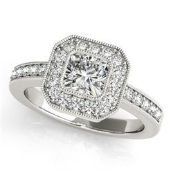 0.80 CTW Certified VS/SI Cushion Diamond Solitaire Halo Ring 18K White Gold - REF-161A3V - 27174
