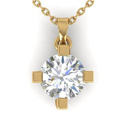 1 CTW Certified VS/SI Diamond Solitaire Necklace 14K Yellow Gold - REF-284H8M - 30404