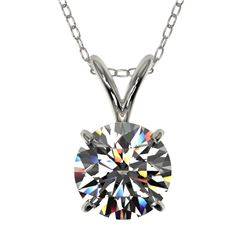 1 CTW Certified H-SI/I Quality Diamond Solitaire Necklace 10K White Gold - REF-147R2K - 33182