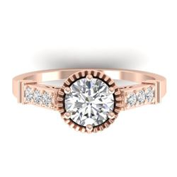1.22 CTW Certified VS/SI Diamond Solitaire Art Deco Ring 14K Rose Gold - REF-347F8N - 30535