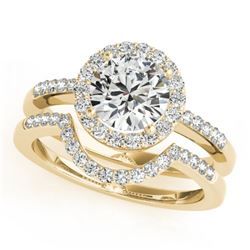 0.67 CTW Certified VS/SI Diamond 2Pc Wedding Set Solitaire Halo 14K Yellow Gold - REF-81M6F - 30770