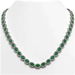 34.11 CTW Emerald & Diamond Necklace White Gold 10K White Gold - REF-562F9N - 40400