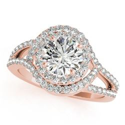 1.60 CTW Certified VS/SI Diamond Solitaire Halo Ring 18K Rose Gold - REF-245Y6X - 26995