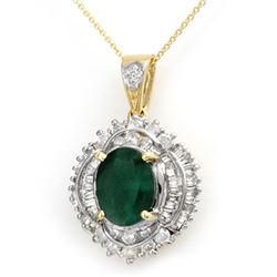 5.35 CTW Emerald & Diamond Pendant 14K Yellow Gold - REF-180X2R - 13008