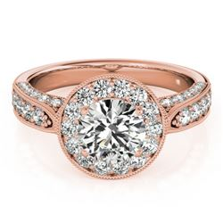 2 CTW Certified VS/SI Diamond Solitaire Halo Ring 18K Rose Gold - REF-435R3K - 27043