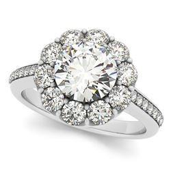 1.60 CTW Certified VS/SI Diamond Solitaire Halo Ring 18K White Gold - REF-236A7V - 26158