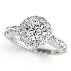 1.75 CTW Certified VS/SI Diamond Solitaire Halo Ring 18K White Gold - REF-408M4F - 26844