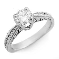 0.55 CTW Certified VS/SI Diamond Solitaire Ring 18K White Gold - REF-119A5V - 11475