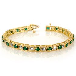 4.09 CTW Emerald & Diamond Bracelet 10K Yellow Gold - REF-94Y5X - 10209