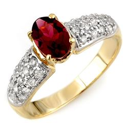 1.50 CTW Pink Tourmaline & Diamond Ring 10K Yellow Gold - REF-52F7N - 10954