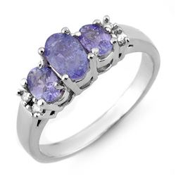 0.99 CTW Tanzanite & Diamond Ring 14K White Gold - REF-38A2V - 10426