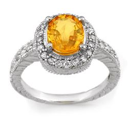 2.90 CTW Yellow Sapphire & Diamond Ring 14K White Gold - REF-98F2N - 11349