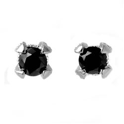1.0 CTW VS Certified Black & White Diamond Solitaire Earrings 14K White Gold - REF-41X3R - 11800