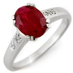 1.60 CTW Ruby & Diamond Ring 10K White Gold - REF-36W4H - 11296