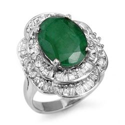 7.04 CTW Emerald & Diamond Ring 18K White Gold - REF-179K3W - 13100