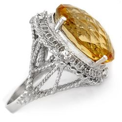 16.59 CTW Citrine & Diamond Ring 10K White Gold - REF-47A8V - 10027