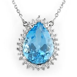 13.75 CTW Blue Topaz & Diamond Necklace 14K White Gold - REF-105K5W - 10230