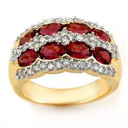 3.0 CTW Pink Tourmaline & Diamond Ring 14K Yellow Gold - REF-105Y5X - 11550