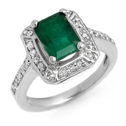 2.40 CTW Emerald & Diamond Ring 14K White Gold - REF-69X3R - 11149