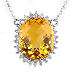 15.75 CTW Citrine & Diamond Necklace 14K White Gold - REF-104Y5X - 10296