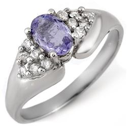0.90 CTW Tanzanite & Diamond Ring 14K White Gold - REF-38R9K - 10668