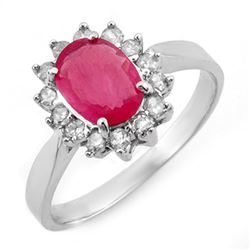 1.27 CTW Ruby & Diamond Ring 18K White Gold - REF-46F7N - 10096