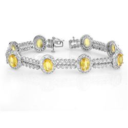 17.25 CTW Yellow Sapphire & Diamond Bracelet 14K White Gold - REF-400X2R - 10051