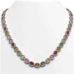 31.96 CTW Multi Color Sapphire & Diamond Necklace 10K White Gold - REF-674K4W - 40448