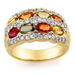 3.75 CTW Multi-Sapphire & Diamond Ring 14K Yellow Gold - REF-105K5W - 11629