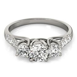 1.33 CTW Certified VS/SI Diamond 3 Stone Ring 18K White Gold - REF-220H7M - 28083