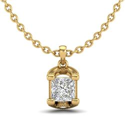 1.25 CTW Princess VS/SI Diamond Solitaire Art Deco Necklace 18K Yellow Gold - REF-315N2A - 37156