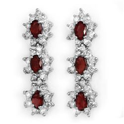 2.81 CTW Ruby & Diamond Earrings 18K White Gold - REF-116N7A - 14288