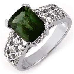 3.0 CTW Green Tourmaline & Diamond Ring 14K White Gold - REF-100K2W - 11663