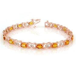 10.15 CTW Yellow Sapphire & Diamond Bracelet 18K Rose Gold - REF-163H6M - 10918