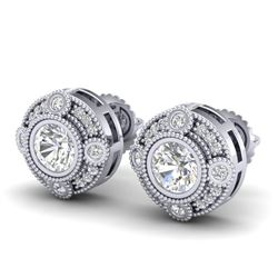 1.50 CTW VS/SI Diamond Solitaire Art Deco Stud Earrings 18K White Gold - REF-263H6M - 36980