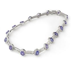 45.0 CTW Tanzanite & Diamond Necklace 14K White Gold - REF-1010X9R - 11762