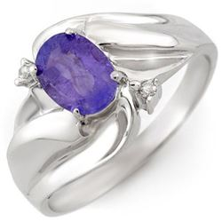 1.02 CTW Tanzanite & Diamond Ring 18K White Gold - REF-36X4R - 10597
