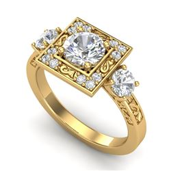1.55 CTW VS/SI Diamond Solitaire Art Deco 3 Stone Ring 18K Yellow Gold - REF-272H7M - 37276