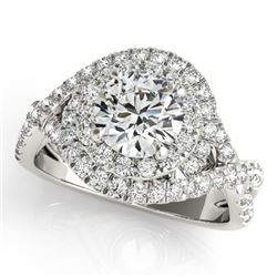 1.50 CTW Certified VS/SI Diamond Solitaire Halo Ring 18K White Gold - REF-247A3V - 26634