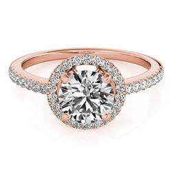 0.90 CTW Certified VS/SI Diamond Solitaire Halo Ring 18K Rose Gold - REF-132K4W - 26812