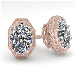1.0 CTW VS/SI Oval Cut Diamond Stud Solitaire Earrings 18K Rose Gold - REF-169N3A - 35957