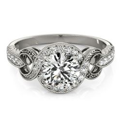 0.80 CTW Certified VS/SI Diamond Solitaire Halo Ring 18K White Gold - REF-125W3H - 26578