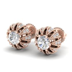 2.01 CTW VS/SI Diamond Art Deco Micro Pave Stud Earrings 18K Rose Gold - REF-272N7A - 36996