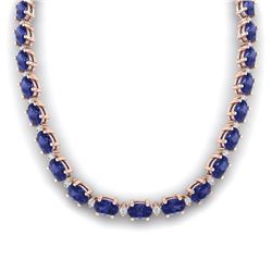 46.5 CTW Tanzanite & VS/SI Certified Diamond Eternity Necklace 10K Rose Gold - REF-439X5R - 29436