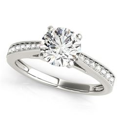 0.70 CTW Certified VS/SI Diamond Solitaire Ring 18K White Gold - REF-114N9A - 27624