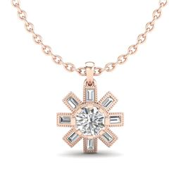 1.33 CTW VS/SI Diamond Solitaire Art Deco Stud Necklace 18K Rose Gold - REF-220V9Y - 37068
