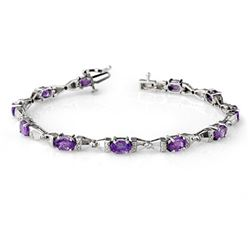 6.11 CTW Tanzanite & Diamond Bracelet 14K White Gold - REF-90N2A - 13397