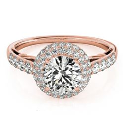 1.65 CTW Certified VS/SI Diamond Solitaire Halo Ring 18K Rose Gold - REF-411Y8X - 26498
